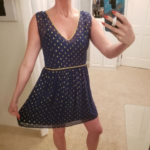 Anthropologie Silk Dress Navy & Gold Sleeveless